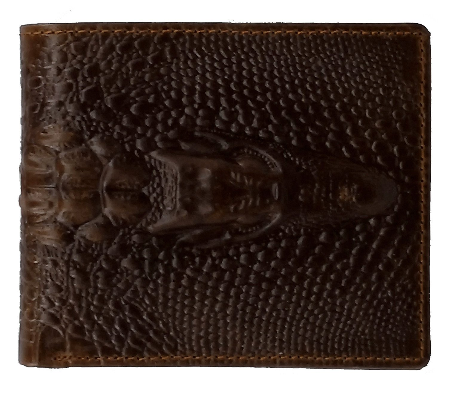 ABC STORY Mens Retro Crazy Horse Leather Slim Bifold Crocodile Short Wallet Purse Money Clip For Women Brown