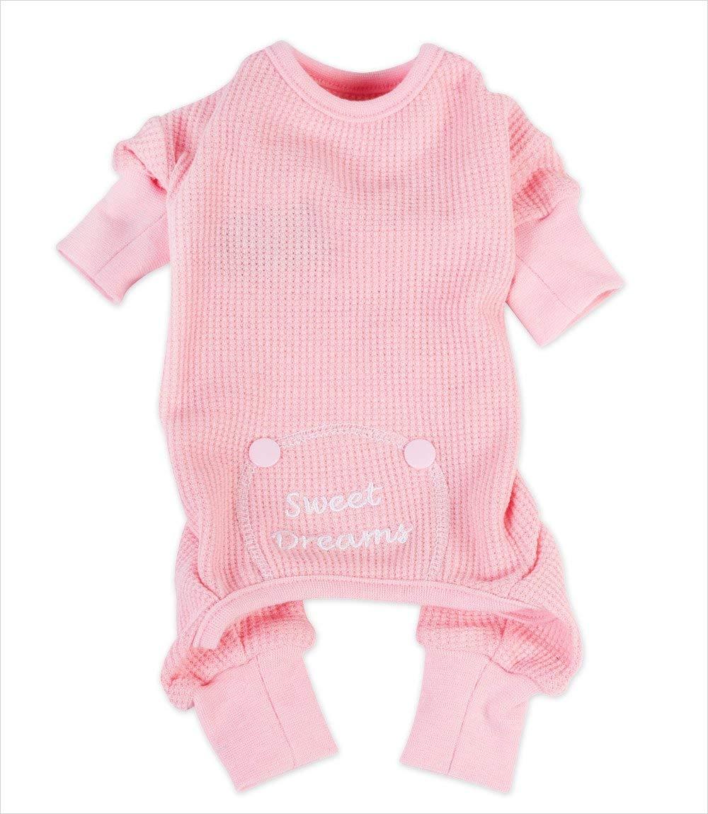 DOGGIE DESIGN Sweet Dreams Thermal Pajamas for Dogs, Pink, Medium