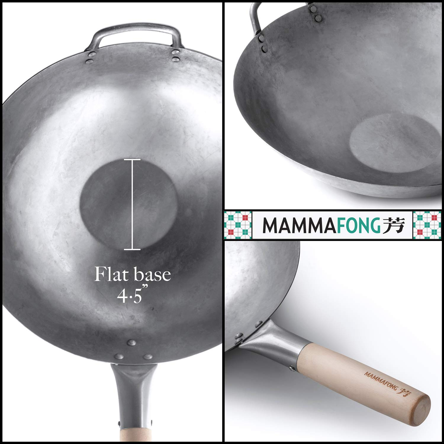Flat Bottom Wok, Traditional Hand Hammered Wok, 14 Inch Carbon Steel Chinese Pow Wok by Mammafong by Mammafong (Image #3)