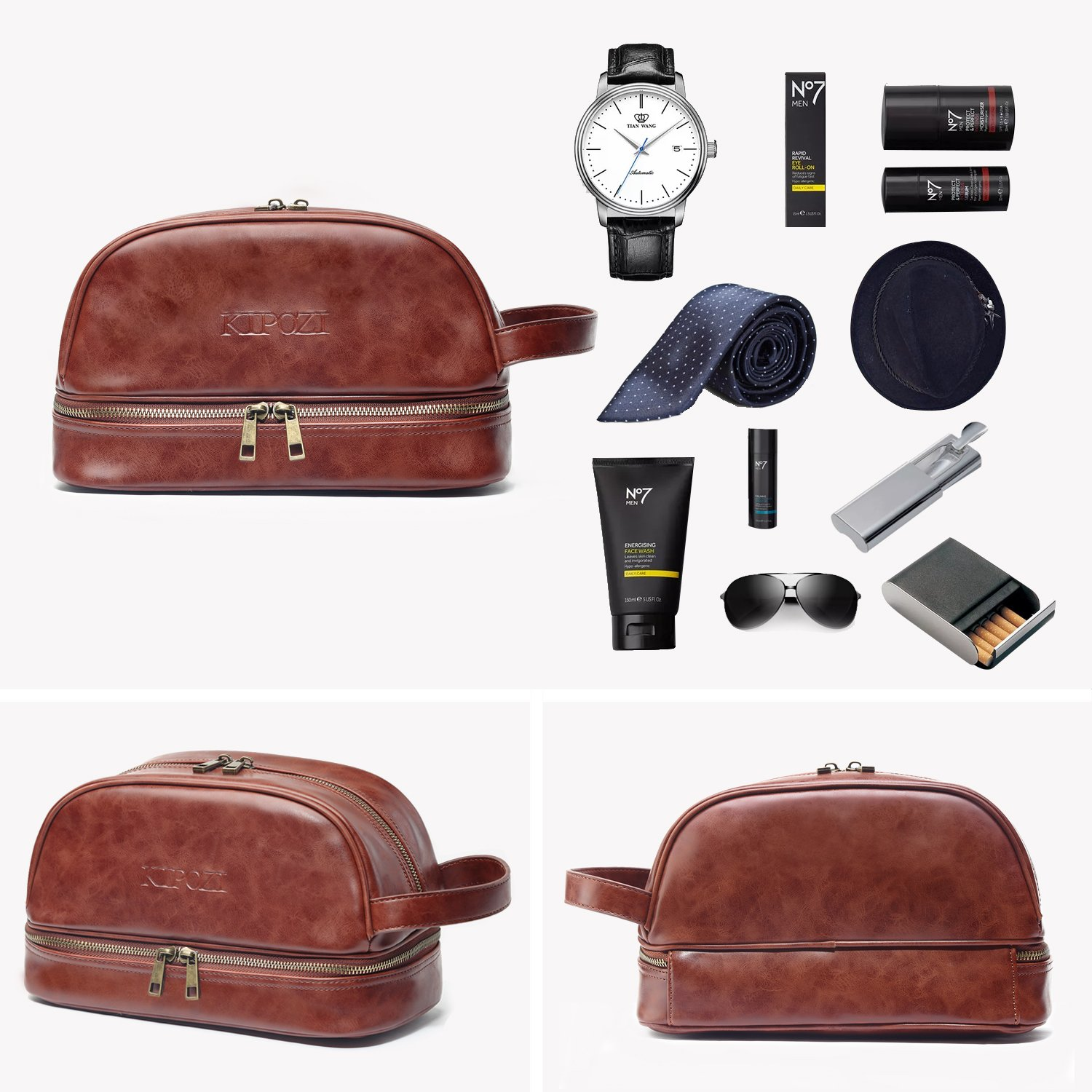 37344575407c KIPOZI Leather Toiletry Bag Men Travel Toiletry Organizer Shaving ...