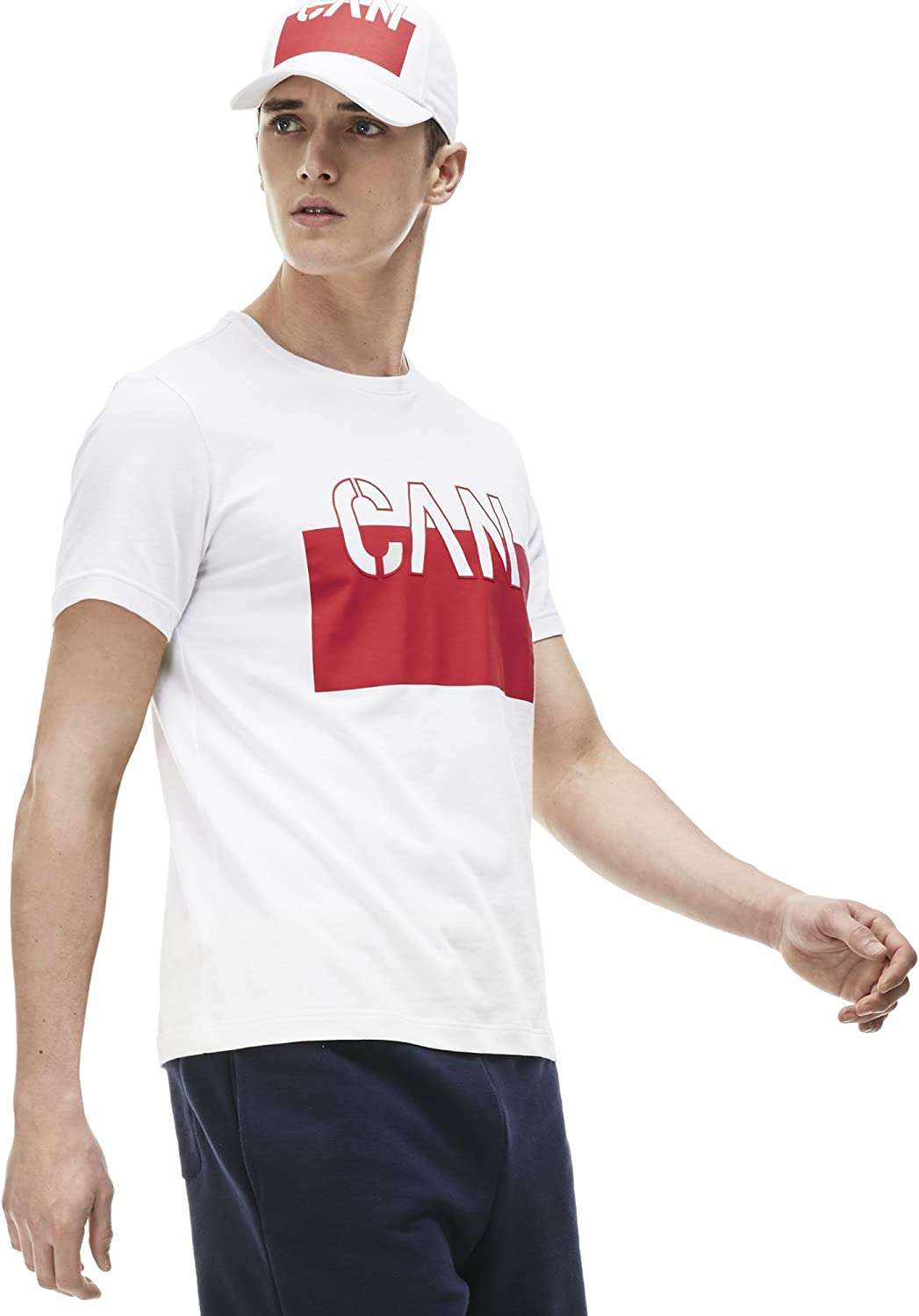 Lacoste Mens Sport World Supporter T-Shirt White//Cochineal-White-Coc Large