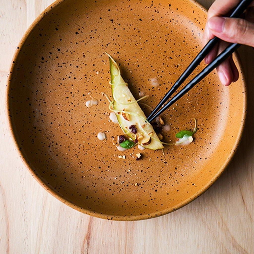 He Xiang Ya Shop Round Dish Plate Pasta Dish Bakeware Pottery Dish Fruit Salad Plate Household Yellow Steak Dish Dessert Plate 8 inches by He Xiang Ya Shop (Image #3)