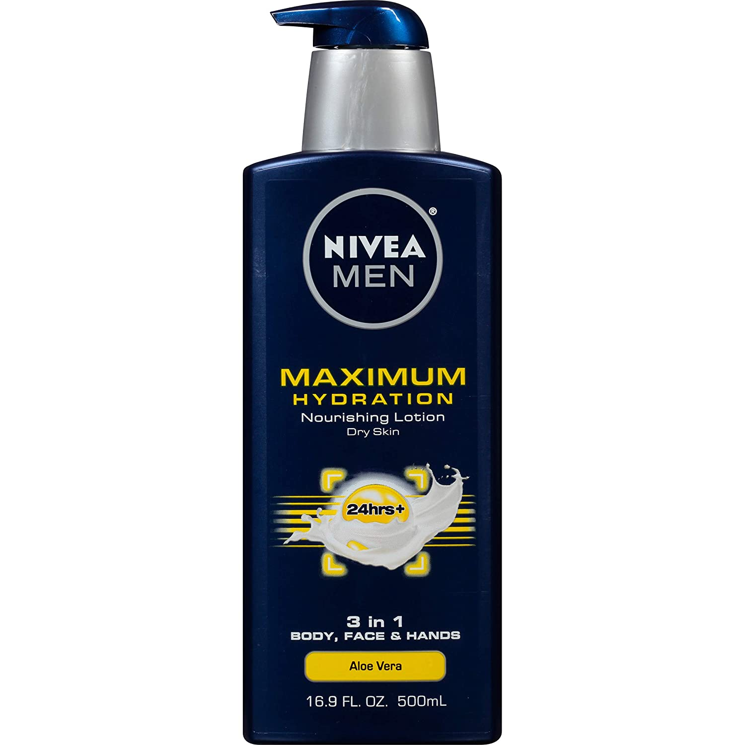 NIVEA Men Maximum Hydration 3-in-1 Nourishing Lotion - Body, Face, Hands - 16.9 oz. Pump Bottle