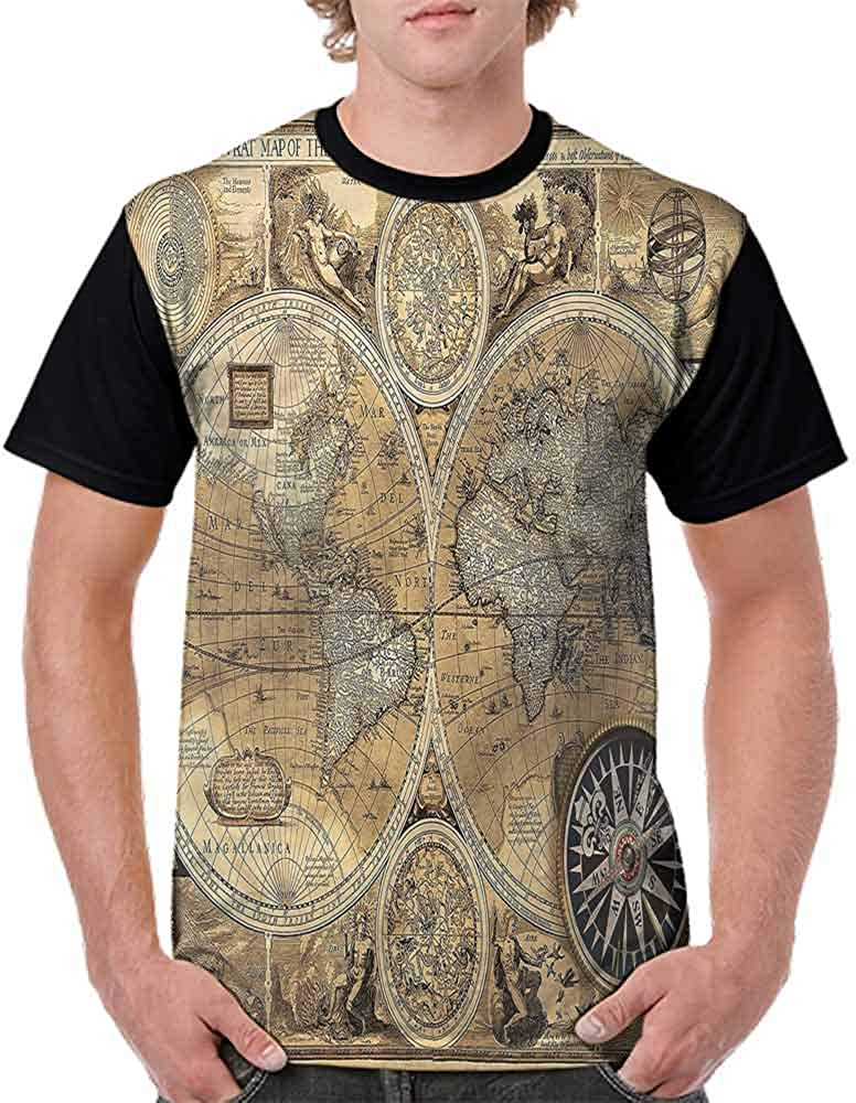 Casual Short Sleeve Graphic Tee Shirts,Antique Vintage Art Fashion Personality Customization