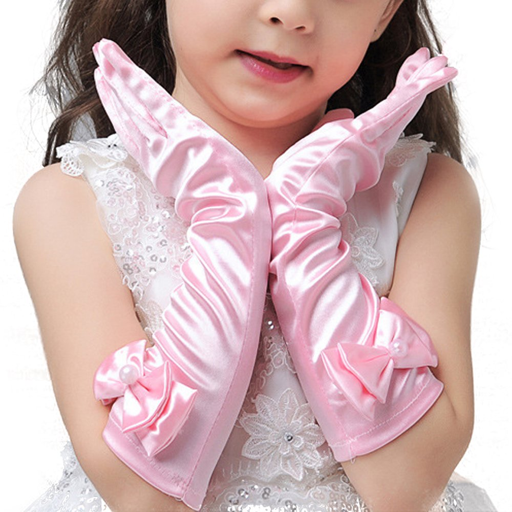 JISEN Girl Bownot Stretch Satin Holiday Wedding Princess Gloves CMG00368