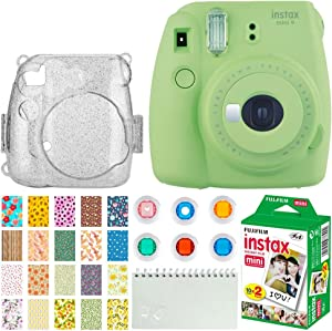 Fujifilm Instax Mini 9 Instant Camera (Lime Green) + Fujifilm Instax Mini Twin Pack Instant Film (20 Exposures) + Glitter Hard Case + Colored Filters + Album + Sticker Frames Nature Package