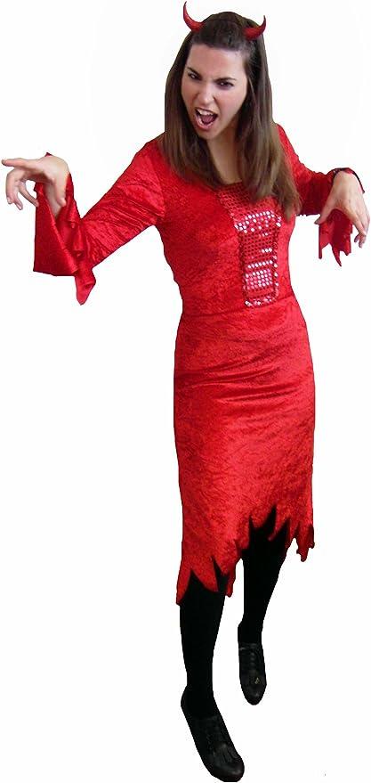 EL CARNAVAL Disfraz diablesa Terciopelo Rojo Mujer Adulto: Amazon ...