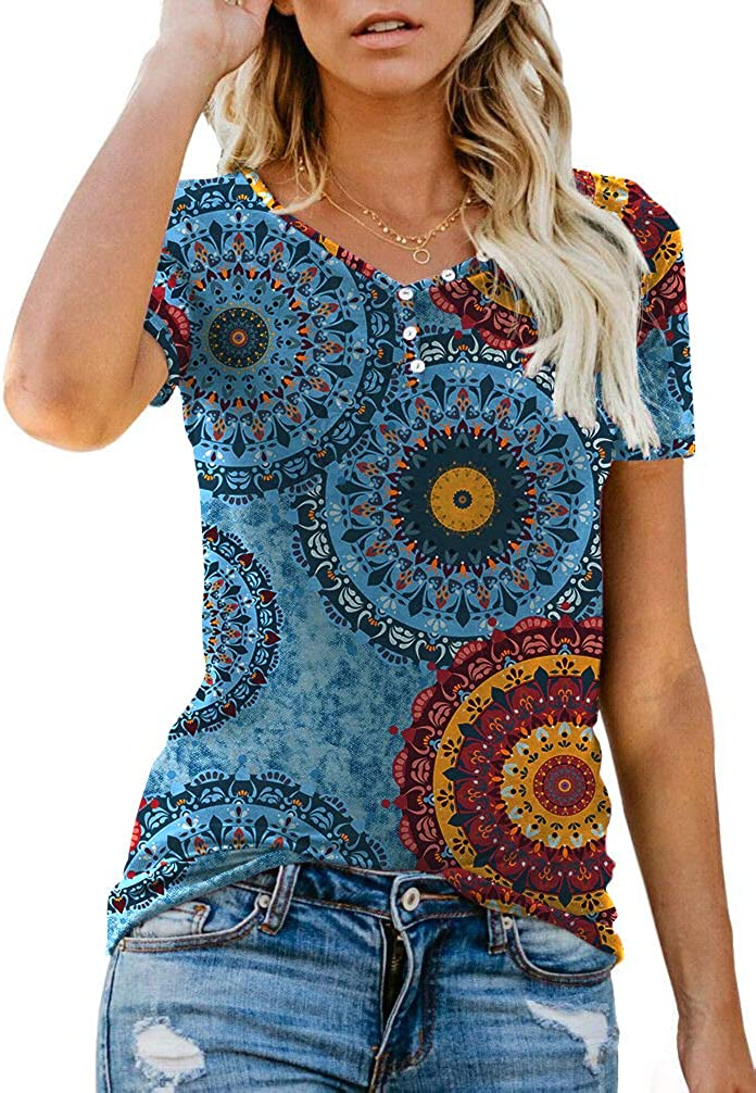 ANIXAY Women's Short/Long Sleeve Henley Button up T Shirt Casual Basic Tops Blouse at  Women's Clothing store