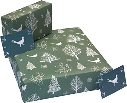 100 Recycled Christmas Scandi Grey Pheasants Luxury Eco Friendly