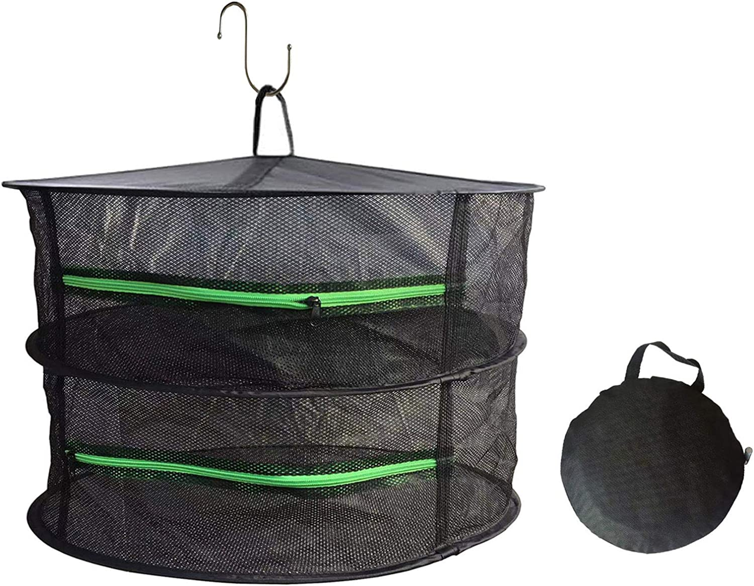 Herb Drying Rack Plant Net,2 Layer 2ft Hanging Dryer,Dry Mesh with Zipper, Garden Hydroponics Flowers (2-Layer)