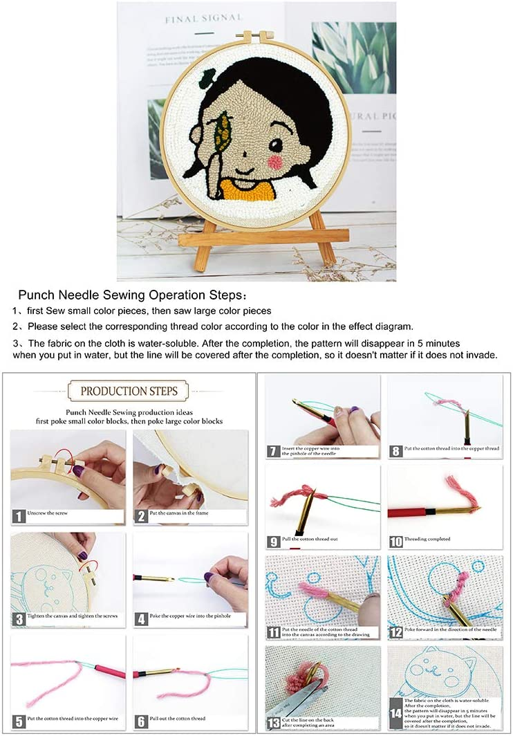 Pig Creative Gifts for Girls Embroidery Frame HMANE Rug Hooking Kit DIY Handcraft Woolen Embroidery Knitting Kit with Punch Needle