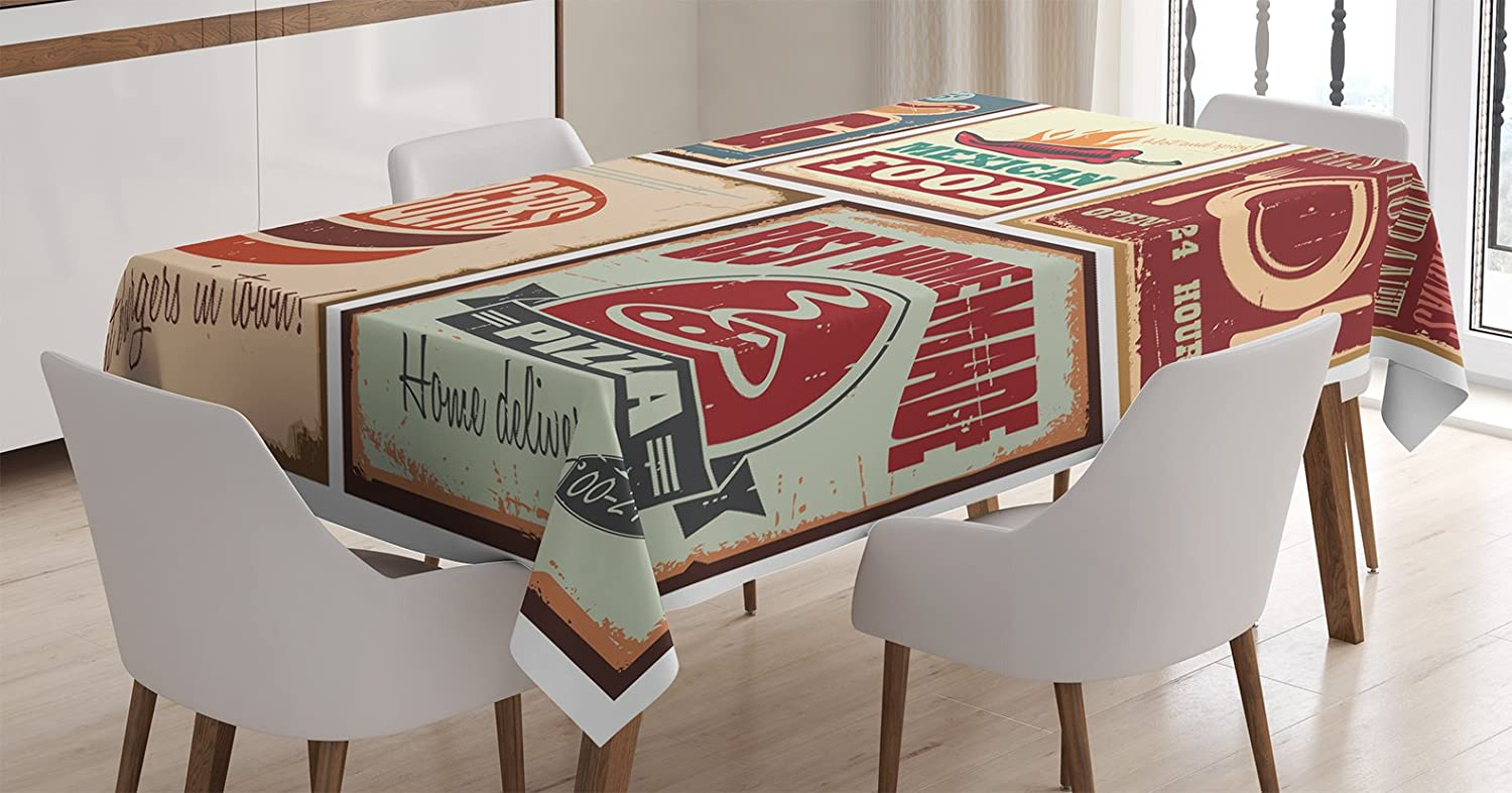 Ambesonne 1950s Decor Tablecloth, Nostalgic Tin Signs and Retro Mexican Food Prints Aged Advirtising Logo Style Artistic Design, Dining Room Kitchen Rectangular Table Cover, 60 X 90 Inches