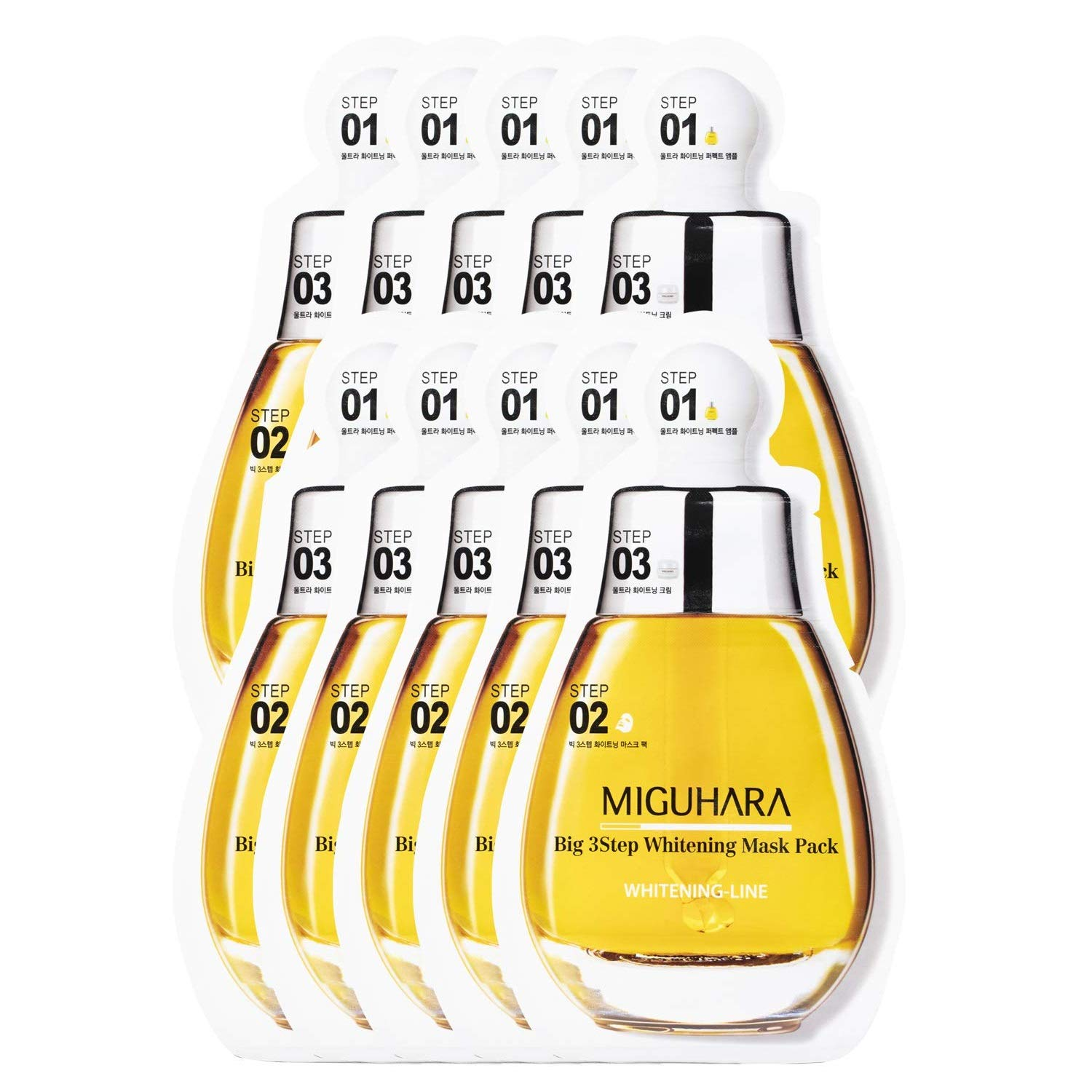 Miguhara Brightening Ampoule, Facial Cream, Facial Sheet Mask - All in 10 Facial Mask 1 Pack inc. Essence Toner 20ml - Moisturizing, Brightening Pore Tightening for Dry Sensitive Skin
