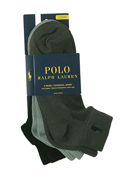 Polo Ralph Lauren Hombre 3 Pares Calcetines de Athletic trimestre fresco y seco - 824049PK-GYAST, Grey, Light Grey, Black: Amazon.es: Deportes y aire libre
