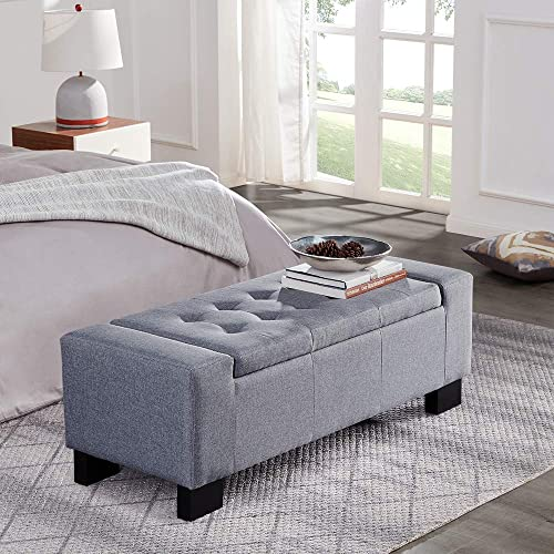 BELLEZE 48″ Rectangular Fabric Tufted Storage Ottoman Bench