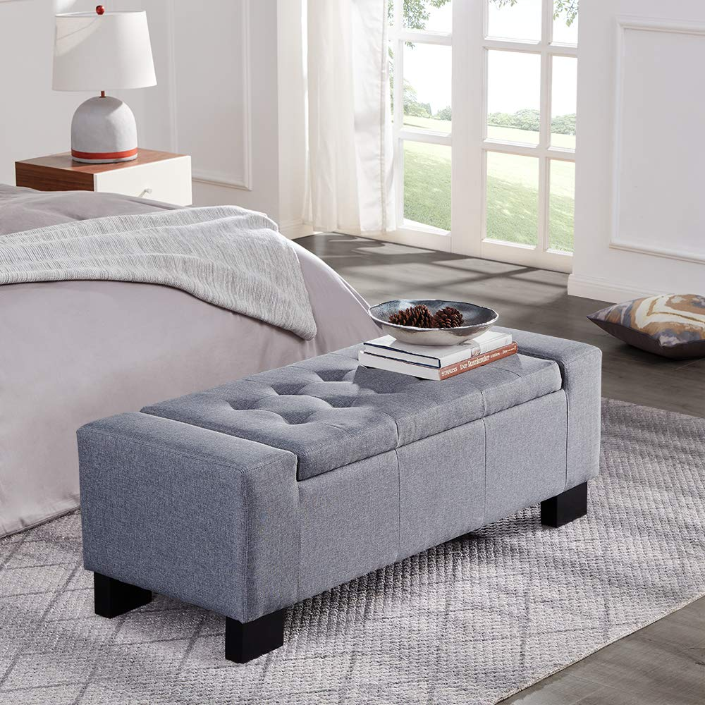 Belleze 48'' Rectangular Fabric Tufted Storage Ottoman Bench, Large, Slate Grey by Belleze