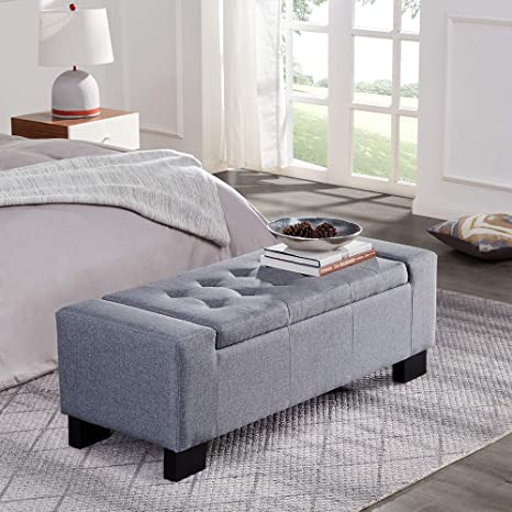 Marvelous Belleze 48 Rectangular Fabric Tufted Storage Ottoman Bench Large Slate Grey Ncnpc Chair Design For Home Ncnpcorg