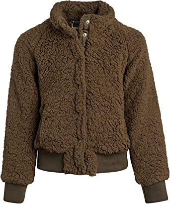 leyay Girls Arctics Full Zip Fuzzy Sherpa Coats Fuzzy Open Front Winter Jacket with Pockets