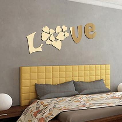 Ikevan 1Set Acrylic Art LOVE 3D Mirror Wall Stickers DIY Home Wall ...