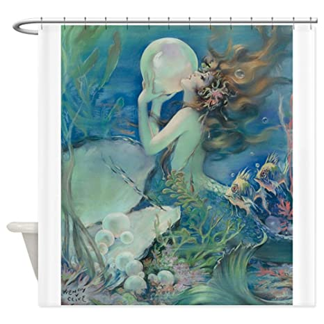 CafePress Art Deco Nouveau Mermaid With Pearl Pin Up Sho Decorative Fabric Shower Curtain