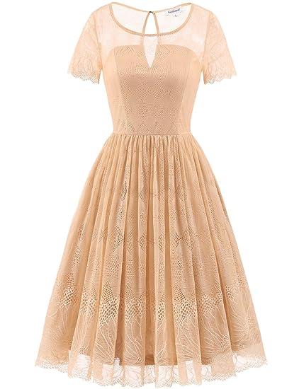 beste Seite große Auswahl von 2019 retro Gardenwed Damen Spitzen Rockabilly Kleid Kurzarm Festlich Partykleid  Brautjungfernkleid Cocktailkleid