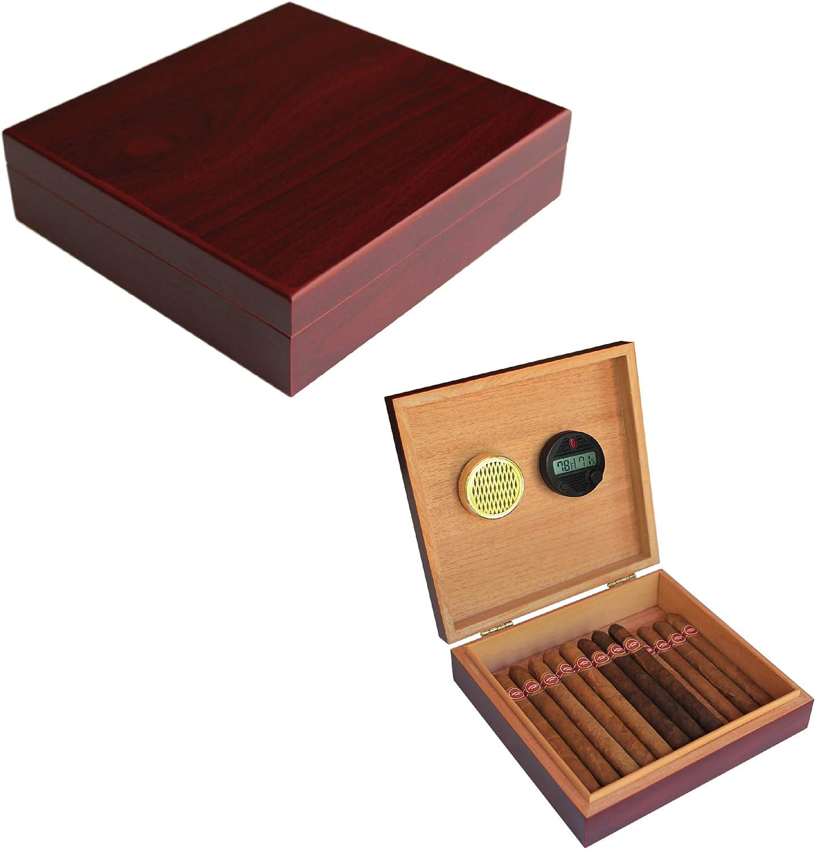Bo/îte /à Cigares avec Fermeture Magn/étique Humidor Cigares avec Hygrom/ètre et Humidificateur Int/égr/é Couleur Cerise CASE ELEGANCE Cave /à cigares en c/èdre