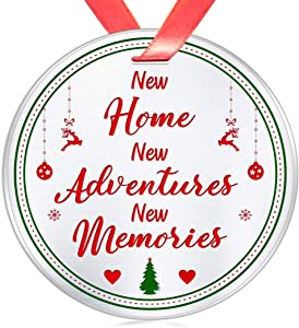 Elegant Chef Housewarming Christmas Ornament Gifts for New Home Owner– New Home New Adventures New Memories– House Warming Newlywed Xmas Celebration Decoration Gifts- 3 inch Flat Stainless Steel