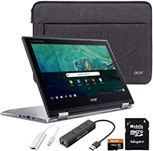 "Acer Chromebook Spin 11 2-in-1 Convertible Touchscreen Laptop 11.6"" HD IPS, Intel Celeron N3350, 4GB RAM, 32GB eMMC w/ Mytirx 128GB SD Card, WiFi, Pen, Ethernet Hub, HDMI Adapter, Sleeve"