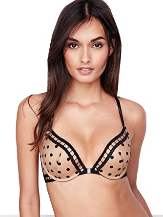2abcb5bff26 Image Unavailable. Image not available for. Color  Victoria s Secret Very  Sexy Dot Mesh T-Back Push Up Bra Nude with Black Dots