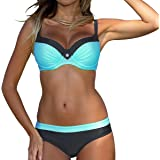 Samtree Women's Two Pieces Bathing Suit Padded Push up Swimsuit Colorblock Bikini Set