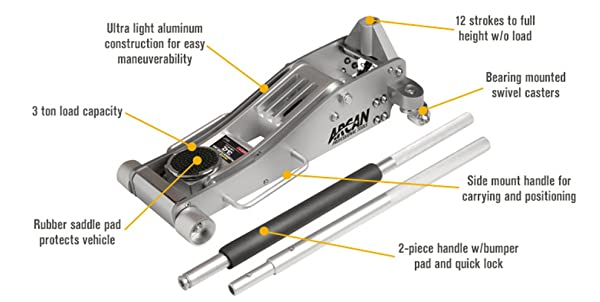 Arcan ALJ3T is a 3-ton capacity floor jack that can lift most road vehicles.