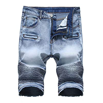Atditama Men's Ripped Destroyed Distressed Casual Denim Shorts Cotton Bermuda Short Pants at Amazon Men's Clothing store