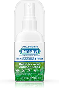 Benadryl Extra Strength Anti-Itch Cooling Spray, Topical Analgesic and Skin Protectant for Relief from Most Outdoor Itches, Travel Size, 2 fl. oz ( Pack of 2)