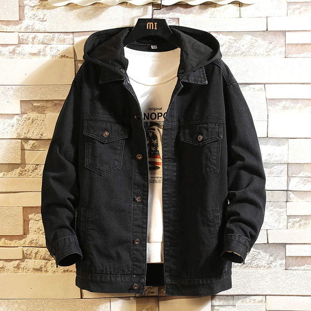 NEARTIME Mens Denim Jacket 2018 Fashion Mens Autumn//Winter Slim Long Sleeve Detachable Hoodie Coat Blouse