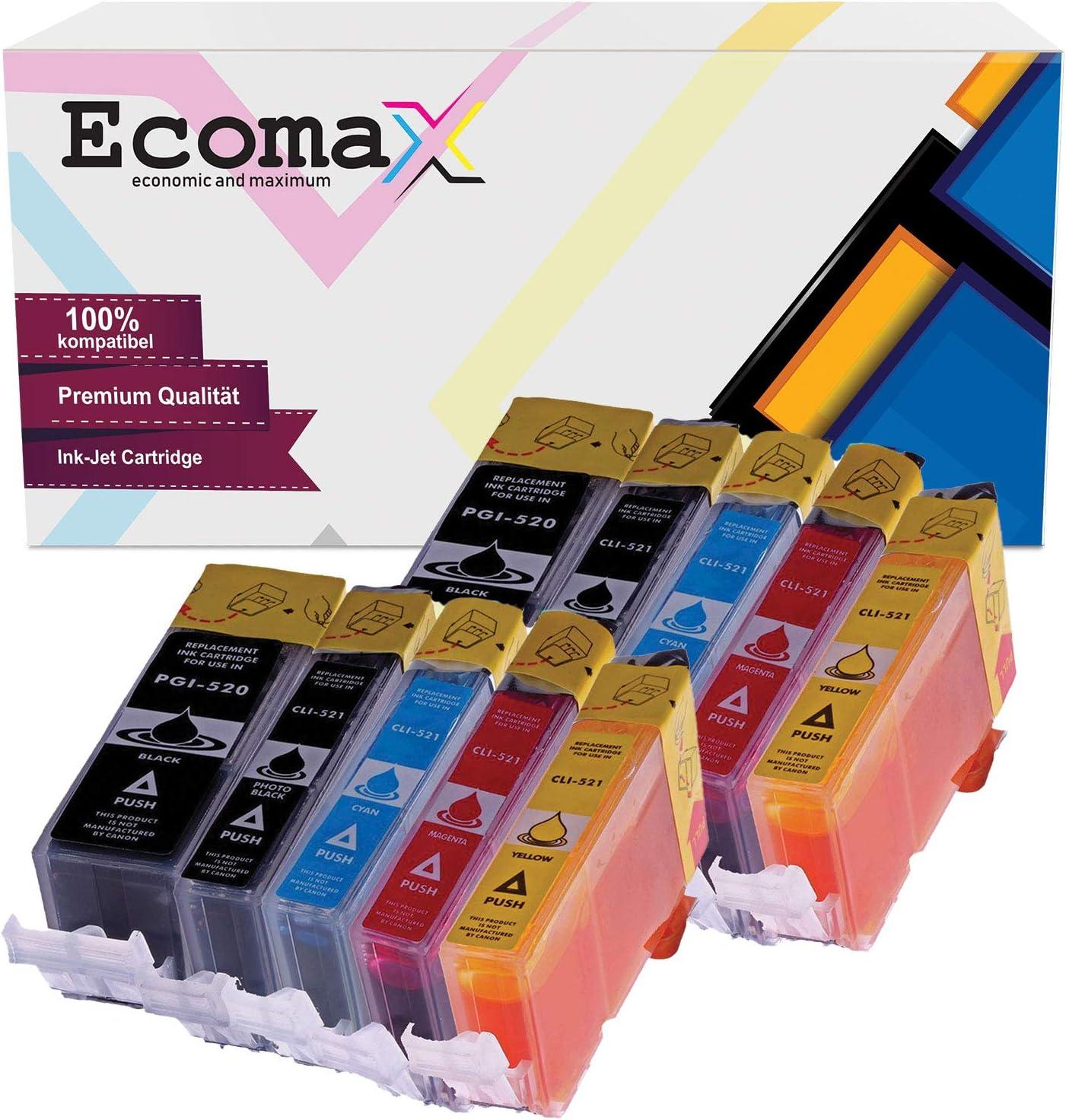 Ecomax 10 Kompatibel Tintenpatrone Als Ersatz Für Canon Pgi 520 Cli 521 Für Pixma Ip3600 Ip4600 Ip4700 Mp540 Mp550 Mp560 Mp990 Mx860 Bürobedarf Schreibwaren