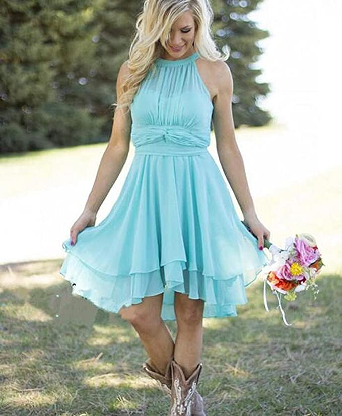 YinWen Women\'s Halter Short Chiffon Beach Bridesmaid Dresses Wedding ...