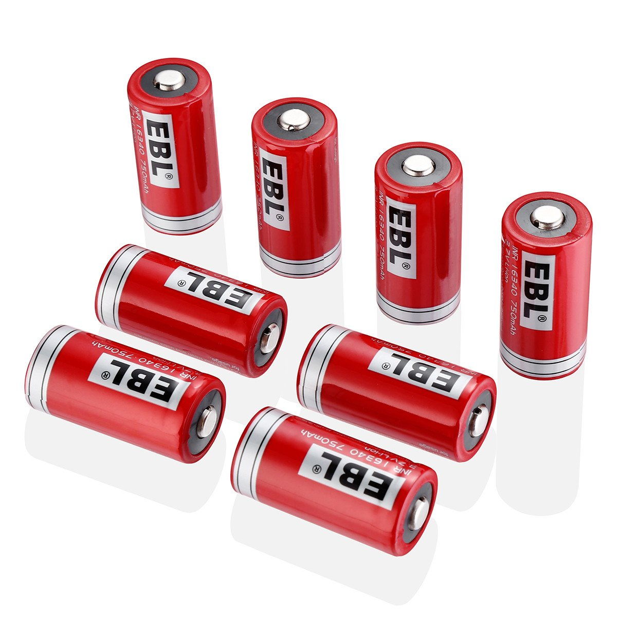 EBL RCR123A Rechargeable Batteries (8-Pack) Li-ion 3.7V Battery Arlo Wireless Security Cameras (VMC3030/VMK3200/VMS3330/3430/3530)