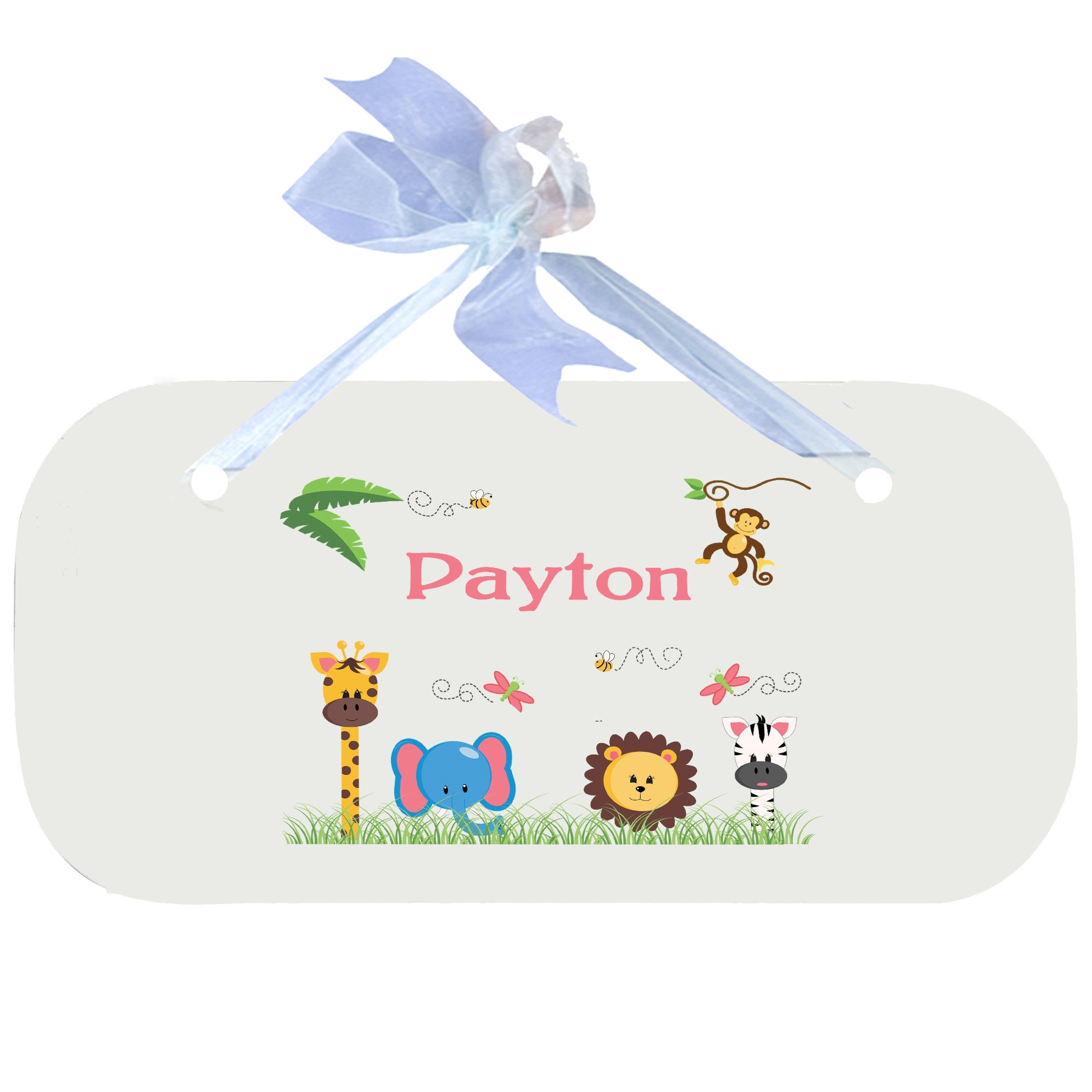 Personalized Jungle Animals Girl Nursery Door Hanger Plaque with blue ribbon