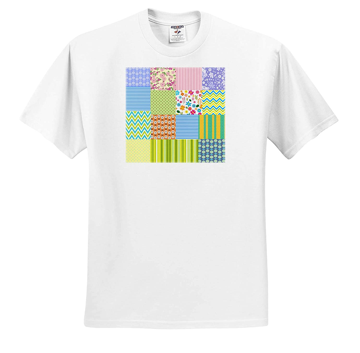 3dRose Lens Art by Florene T-Shirts Floral and Tree Abstracts Image of Quilted Pattern of Floral and Stripes
