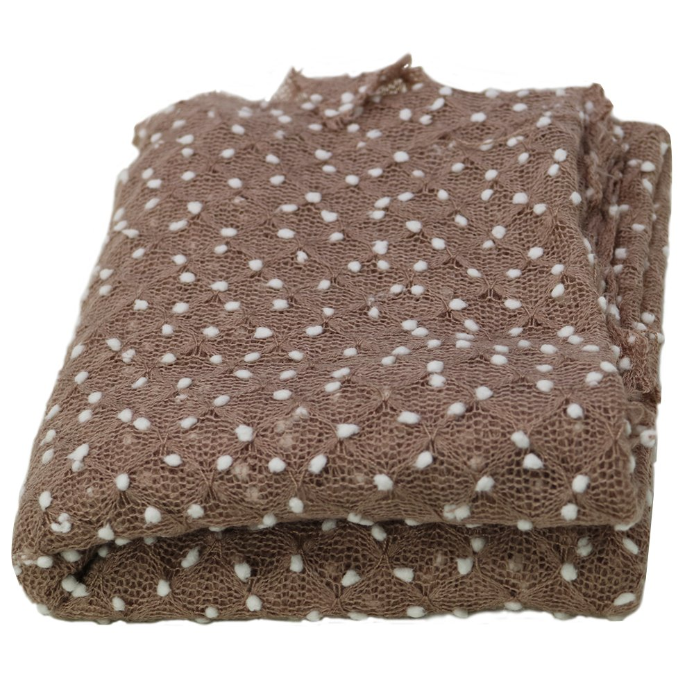 Newborn Photography Props Newborn Wraps Baby Photo Blanket, Basket Layer Filler Backdrops Dot Pattern Pretty Breathable Acrylic 29.5X19.7 inch Light Brown
