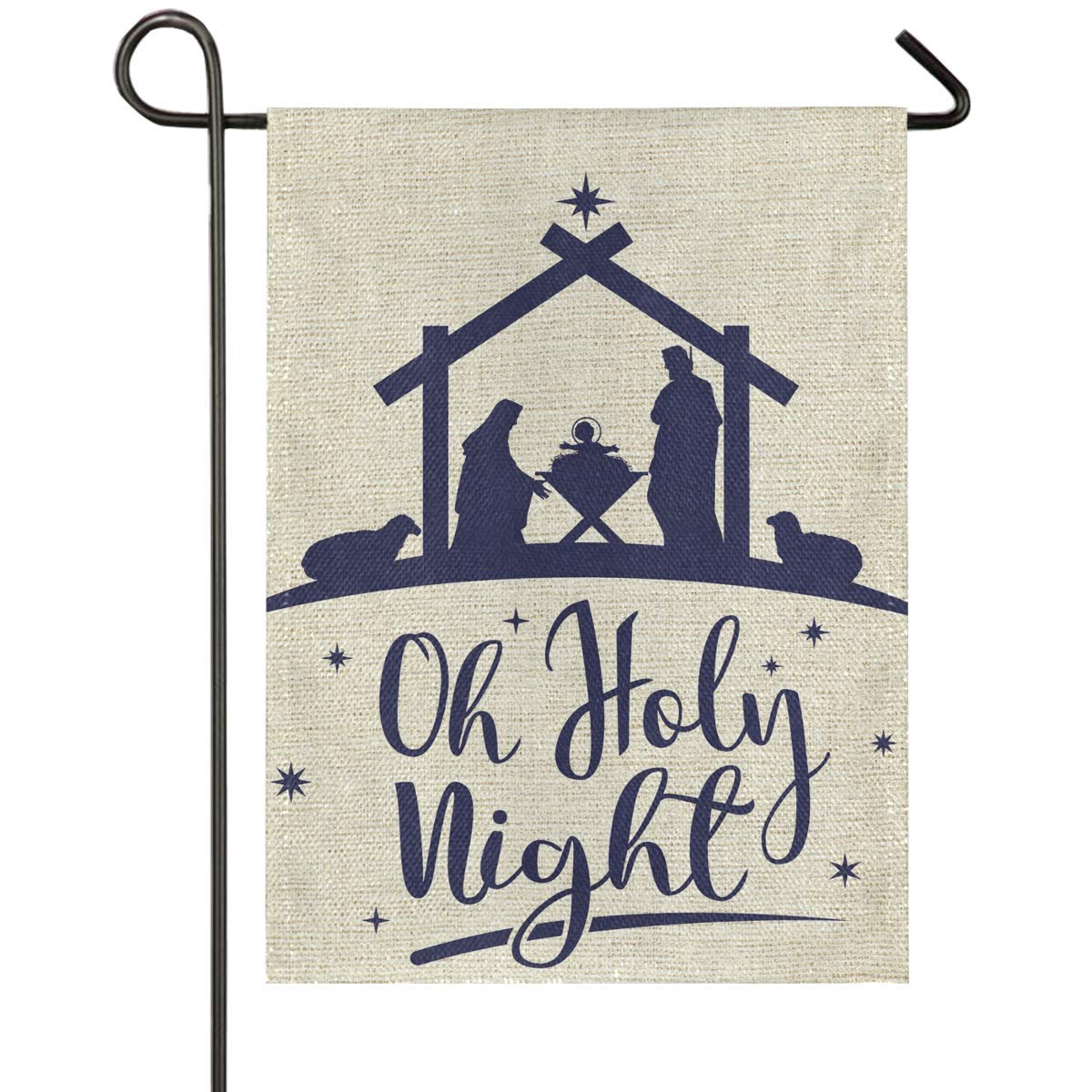 Oh Holy Night Star of Bethlehem Burlap House Flag 28 x 40 Double Sided Traditional Christams Garden Yard Flags Religious Winter Holiday Rustic Outdoor Banner Home Xmas Decor