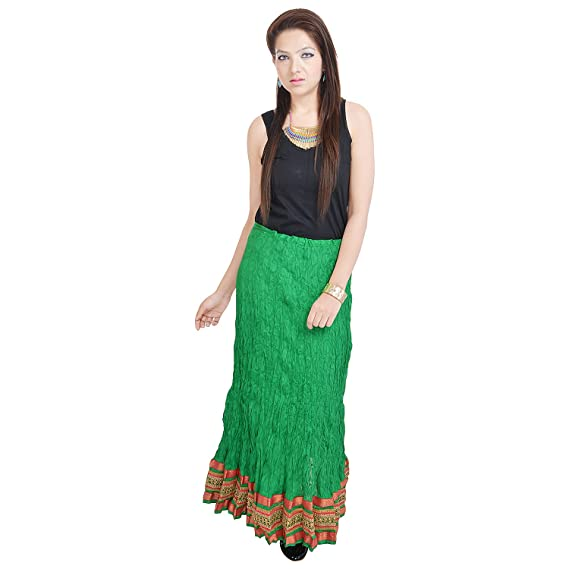 15c3d9e385 Rajasthani Green Exclusive Cotton Skirt: Amazon.in: Clothing & Accessories