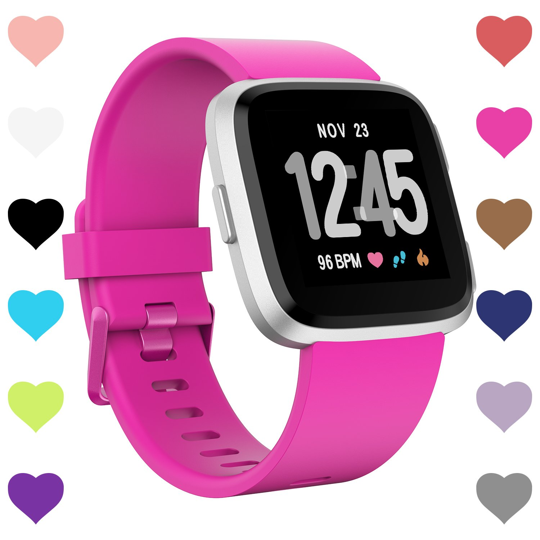 Humenn for Fitbit Versaバンド、交換用クラシックアクセサリーバンドfor Fitbit Versa Smartwatch S B07CXRW61N ローズレッド Small