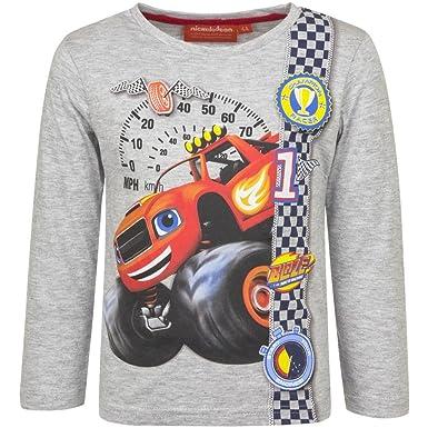 368e667b6 Blaze y los Monster Machine - Camiseta mangas Largas - para niño - HQ1570   Grigio - 4 anni - 104 cm   Amazon.es  Ropa y accesorios