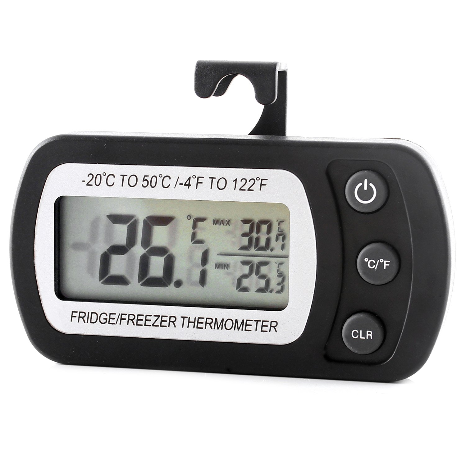 Refrigerator Fridge Thermometer Digital Freezer Room Thermometer Waterproof, Max/Min Record Function with Large LCD Display (black)