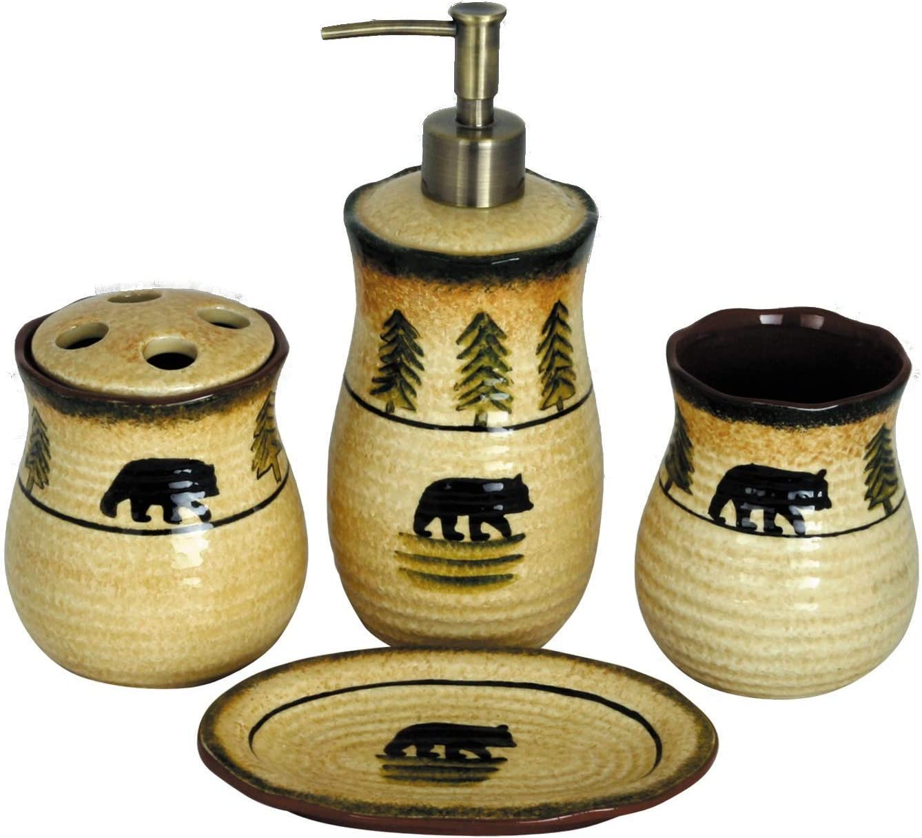 HiEnd Accents Rustic Black Bear 4-PC Lodge Bathroom Countertop Accessory Set, Tan, Forest Green & Brown