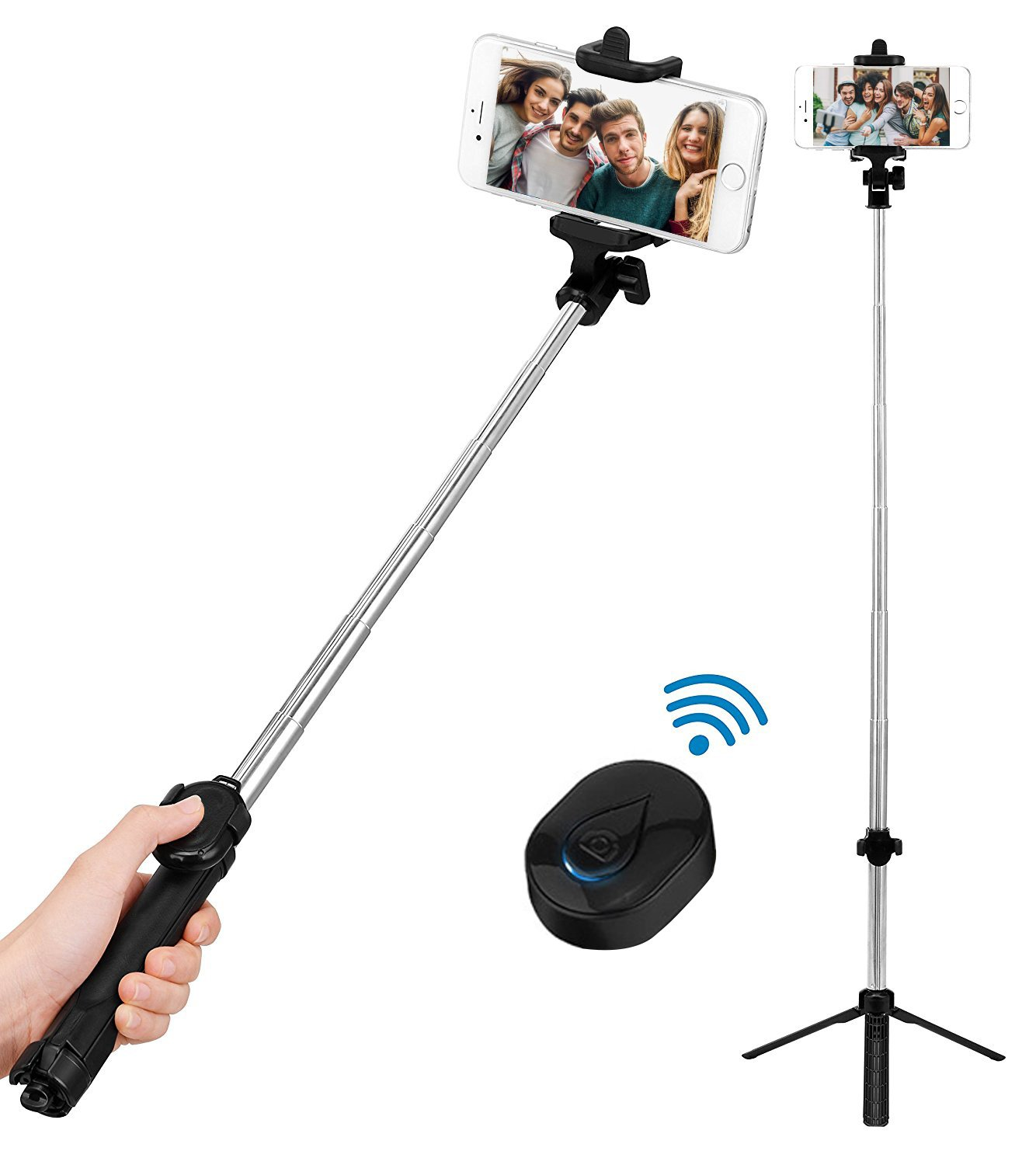 Bluetooth Selfie Stick Tripod, BOKIN wireless Selfie Stick for iPhone 6/iPhone 6 Plus/iPhone 7/iPhone 7 plus/iPhone 8/iPhone 8 plus/iPhone X and Samsung note 8/S8 and other Android Phones by BOKIN (Image #1)