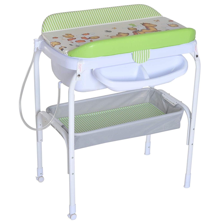 HOMCOM Bañera Cambiador 2 en 1 para Bebé 0-18 Meses Cambiador de Pañales y Baño Plegable con Tubo de Drenaje Material Impermeable 81x53x102cm SPANISH AOSOM