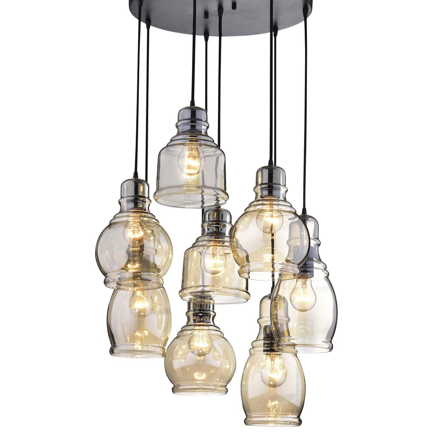 Circular Light Fixture for Dining Rooms and Kitchen Areas | Glass Chandelier Centerpiece Provides Ample Lighting | Round Indoor Hanging Lamp Set Descends from Ceiling to Create Modern Farmhouse Feel