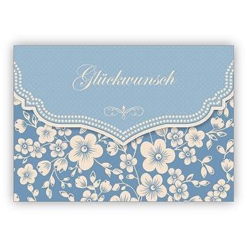 Hellblaue Vintage Glückwunschkarte Mit Retro Kirschblüten